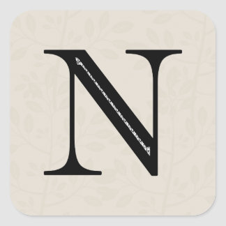 ダマスク織の手紙N -黒 スクエアシール