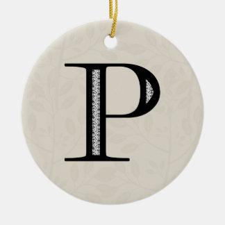 ダマスク織の手紙P -黒 セラミックオーナメント