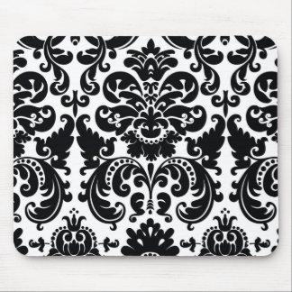 ダマスク織の白黒エレガントでシックなコンピュータマウスパッド マウスパッド