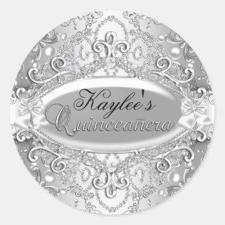 ダマスク織の真珠のキンセアニェラの銀製のステッカー ラウンドシール