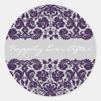 ダマスク織の紫色の結婚式 ラウンドシール