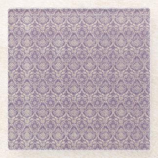ダマスク織の紫色パターン ガラスコースター