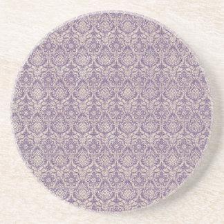 ダマスク織の紫色パターン コースター