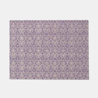 ダマスク織の紫色パターン ドアマット