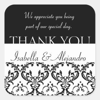 ダマスク織の結婚式の好意はラベルの黒い正方形感謝していしています スクエアシール