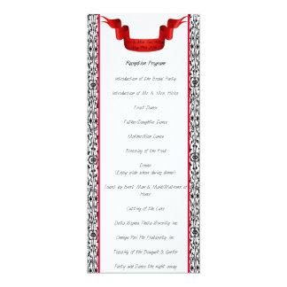 ダマスク織の結婚披露宴プログラム 10.2 X 23.5 インビテーションカード