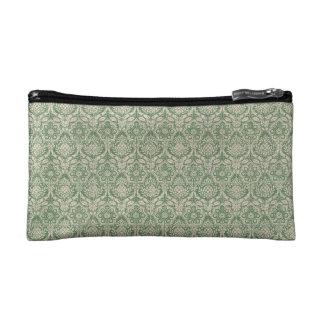 ダマスク織の緑パターン コスメティックバッグ