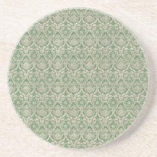 ダマスク織の緑パターン コースター