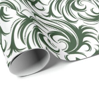 ダマスク織の緑 ラッピングペーパー