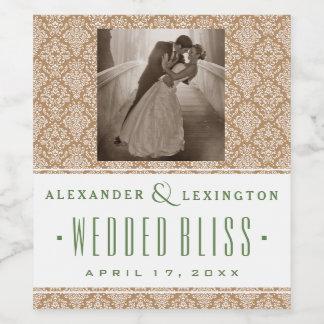 ダマスク織の自然な、緑の結婚式の写真 ワインラベル