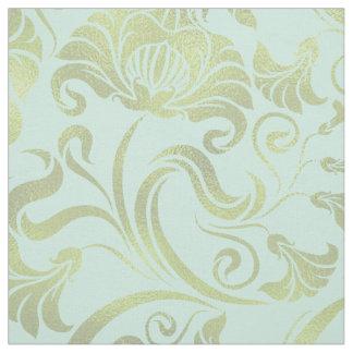 ダマスク織の色ID461の花のきらめくの金ゴールド ファブリック