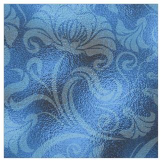 ダマスク織の花のきらめくのサファイア青いID461 ファブリック