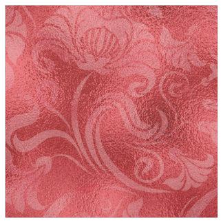 ダマスク織の花のきらめくのバラ赤いID461 ファブリック