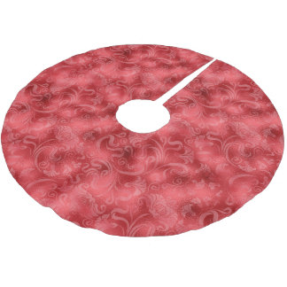 ダマスク織の花のきらめくのバラ赤いID461 ブラッシュドポリエステルツリースカート