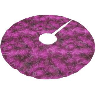 ダマスク織の花のきらめくのマゼンタのバラID461 ブラッシュドポリエステルツリースカート
