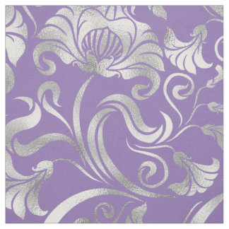 ダマスク織の花のきらめくの銀背景ID461 ファブリック