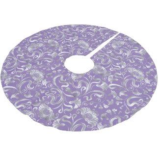 ダマスク織の花のきらめくの銀背景ID461 ブラッシュドポリエステルツリースカート