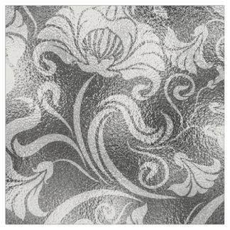 ダマスク織の花のきらめくの銀製灰色ID461 ファブリック