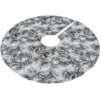 ダマスク織の花のきらめくの銀製灰色ID461 ブラッシュドポリエステルツリースカート