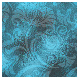 ダマスク織の花のきらめくの青緑ID461 ファブリック