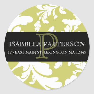 ダマスク織の花のモノグラムの円の宛名ラベル ラウンドシール