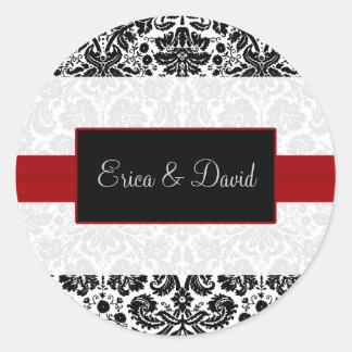 ダマスク織の赤い結婚式のモノグラムのステッカー ラウンドシール