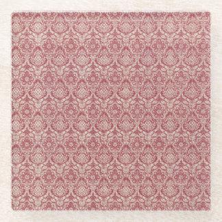 ダマスク織の赤パターン ガラスコースター