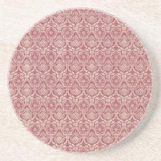 ダマスク織の赤パターン コースター
