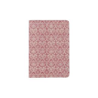 ダマスク織の赤パターン パスポートカバー