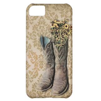 ダマスク織の野生の花の西欧諸国のカウボーイ・ブーツ iPhone5Cケース