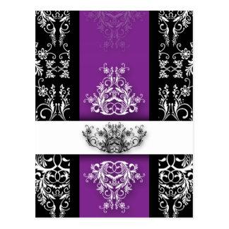 ダマスク織の野生の花、紫色及び黒のセリーヌ ポストカード