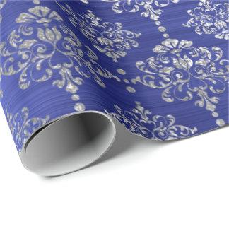 ダマスク織の銀製のコバルトブルーの王室のなオーナメントフランス ラッピングペーパー