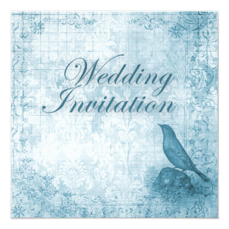 ダマスク織の青い結婚式のロマンチックなヴィンテージの鳥 カード