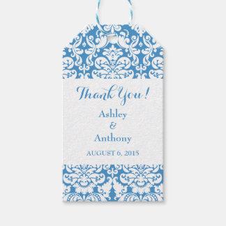ダマスク織の青く白い結婚式はメッセージカード感謝していしています ギフトタグパック