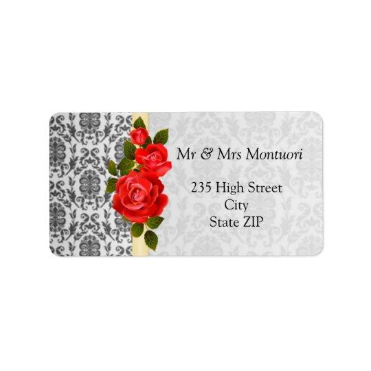 ダマスク織の黒い灰色、赤いバラの差出人住所ラベル ラベル