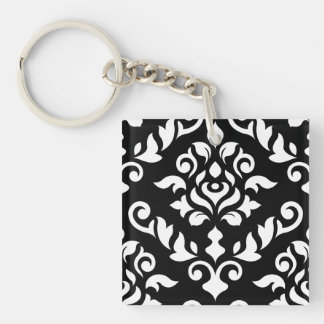 ダマスク織の黒のバロック式のデザインの白 キーホルダー