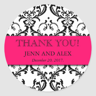 ダマスク織は結婚式用シールの好意のショッキングピンク感謝していしています ラウンドシール