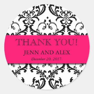 ダマスク織は結婚式用シールの好意のショッキングピンク感謝していしています 丸型シール