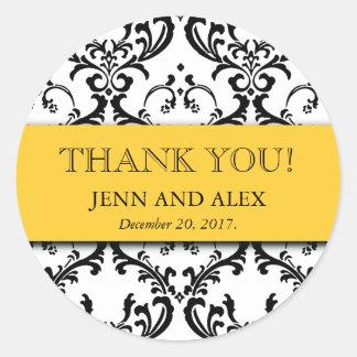 ダマスク織は結婚式用シールの好意の黄色感謝していしています ラウンドシール