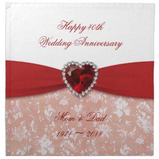ダマスク織第40の結婚記念日のデザイン ナプキンクロス