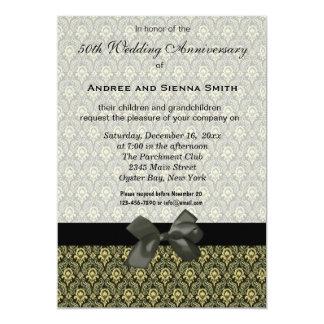ダマスク織第50の結婚記念日 12.7 X 17.8 インビテーションカード