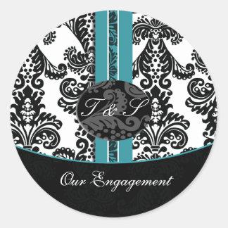 ダマスク織|水|結婚|モノグラム|ステッカー 丸形シールステッカー
