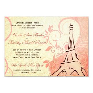 ダマスク織Parisienne -ピンクおよびクリームの結婚式 12.7 X 17.8 インビテーションカード