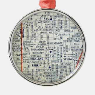 ダラスのヴィンテージの地図 メタルオーナメント