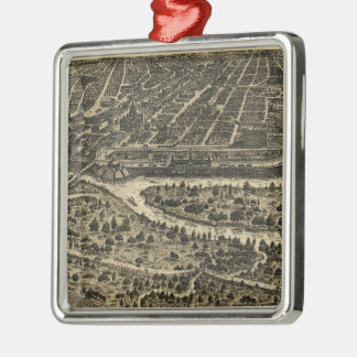 ダラステキサス州(1892年)のヴィンテージの絵解き地図 メタルオーナメント