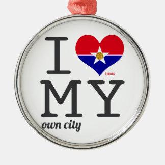 ダラステキサス州I愛私の自身の都市 メタルオーナメント