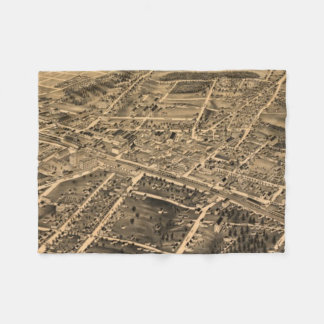ダラムNC (1891年)のヴィンテージの絵解き地図 フリースブランケット