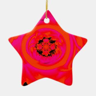 ダリアの抽象芸術、ピンクオレンジ 陶器製星型オーナメント