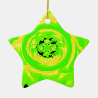 ダリアの抽象芸術、黄色い緑 セラミックオーナメント