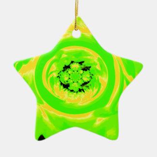 ダリアの抽象芸術、黄色い緑 陶器製星型オーナメント